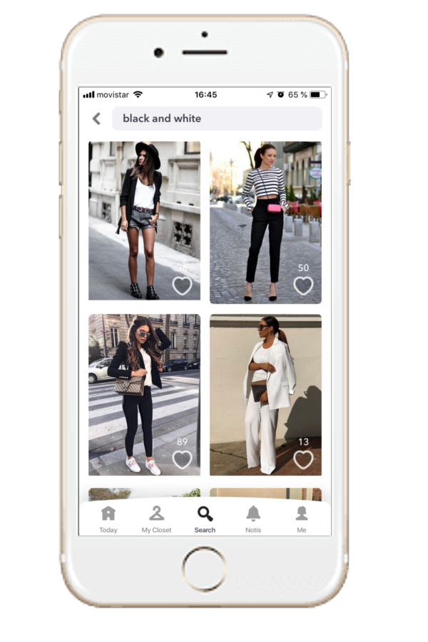 Outfit in black and white of Chicisimo outfit planning app.