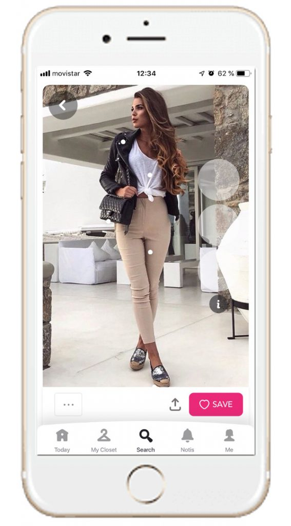Outfit with black biker jacket, white tee, metallic espadrilles and beige pants from the chicisimo outfit planner app  to maximize your wardrobe
