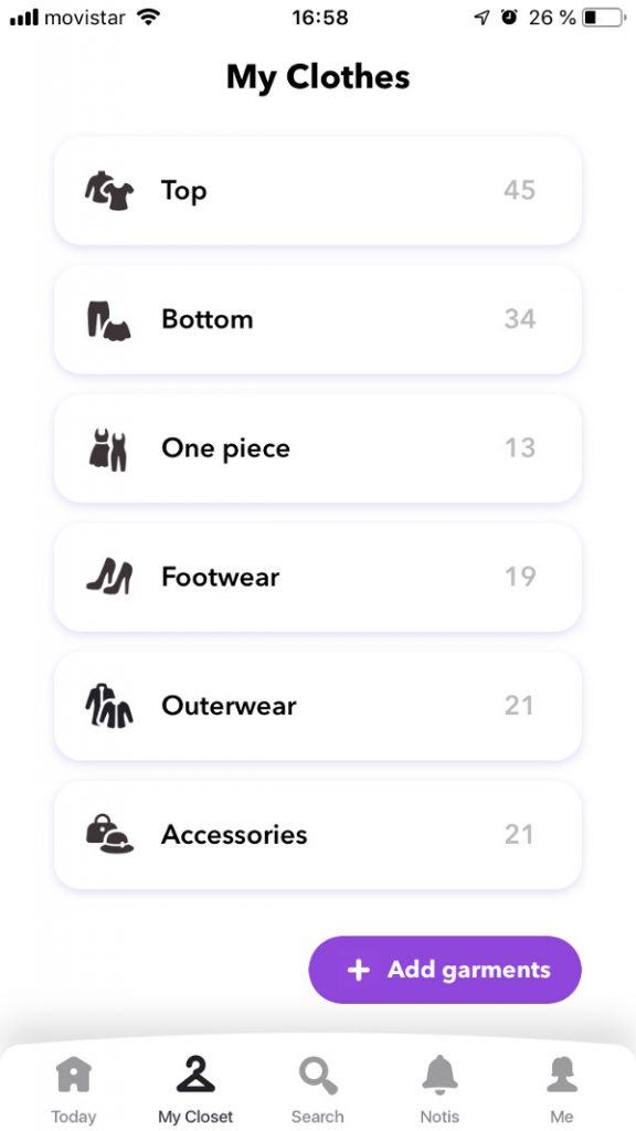 Virtual closet in Chicisimo outfit planning app