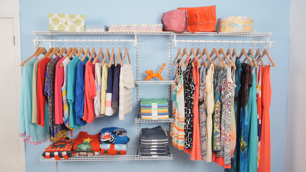 closet organized by use