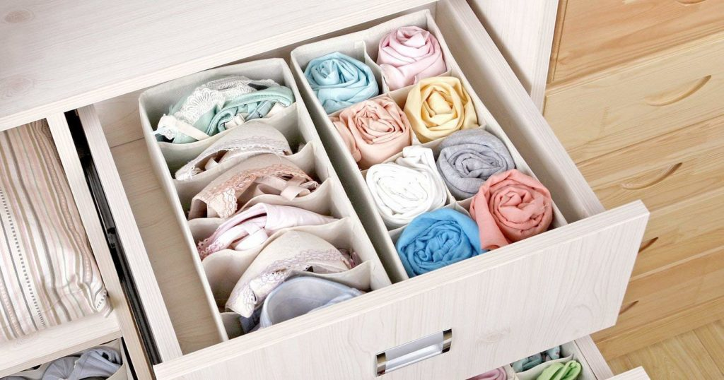 organize your closet: roll items
