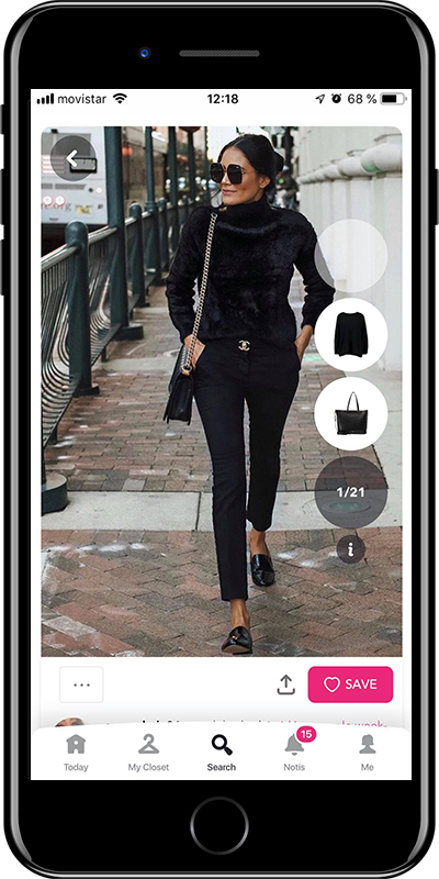 Outfit with black trousers from Chicisimo outfit planner app