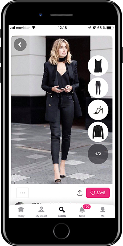 A total black outfit by Chicisimo fashion planner app