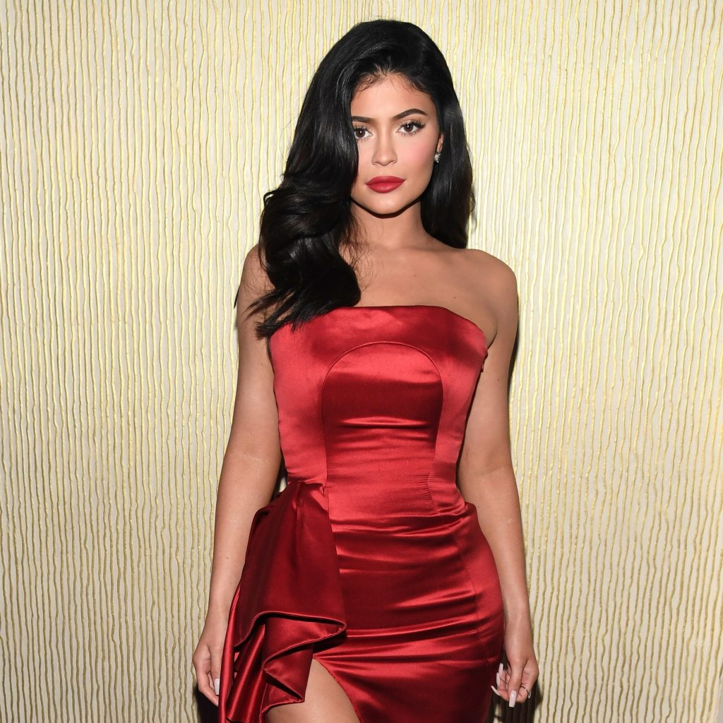 Kylie Jenner wearing a red dress