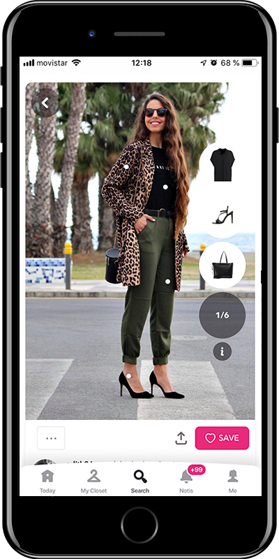 Outfit with animal print coat by Chicisimo fashion planner app