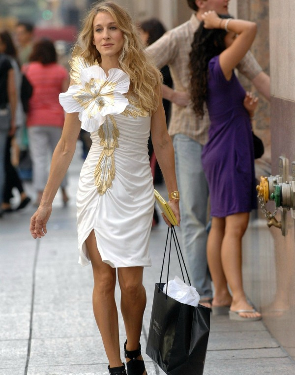 Carrie Bradshaw wearing her iconic white dress