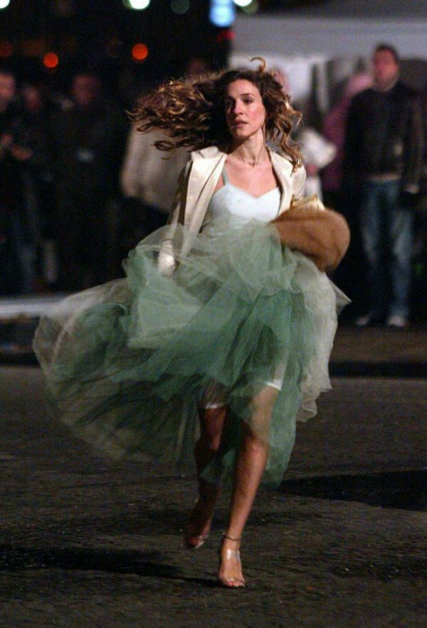 Carrie Bradshaw wearing her green tutu in Paris