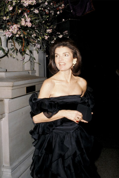Jacqueline Kennedy Oasis wearing a black dress for the MET gala