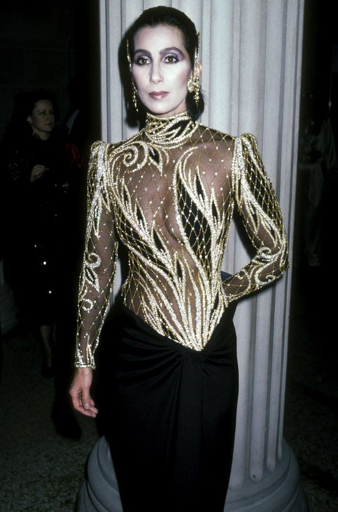 Cher wearing a Bob Mackie dress for the MET gala