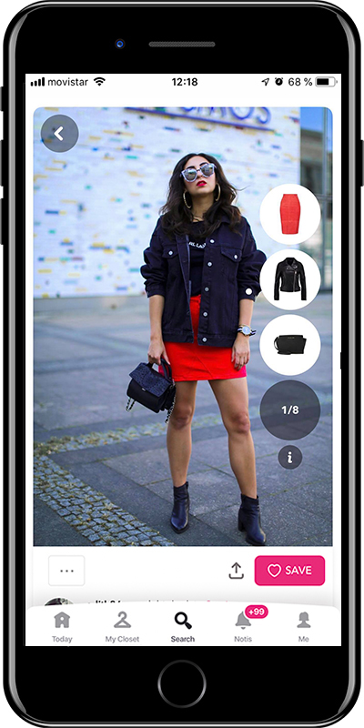 Girl wearing a red skirt by Chicisimo outfit planner app