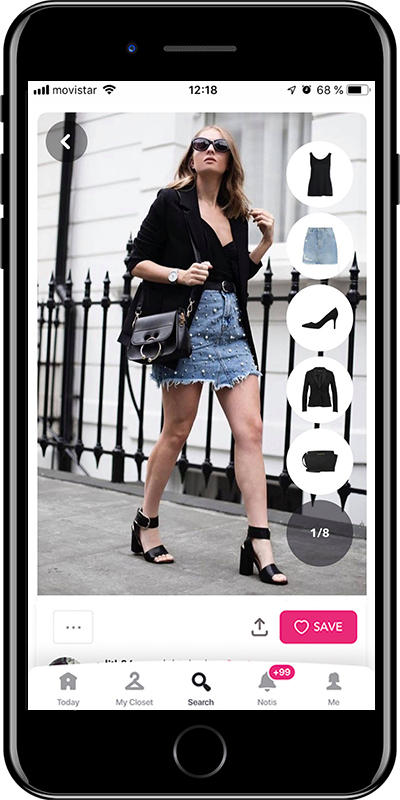 Girl wearing the perfect denim skirt by Chicisimo outfit planner app