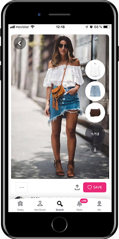 Lovely Pepa wearing the perfect denim skirt by Chicisimo outfit planner app