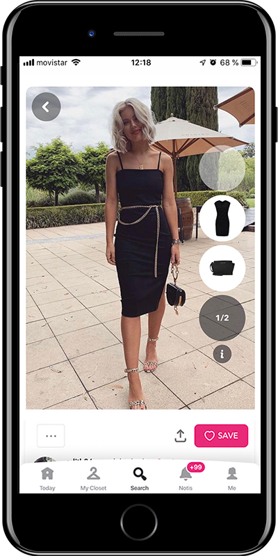 Outfit with a mini black dress by Chicisimo planner app