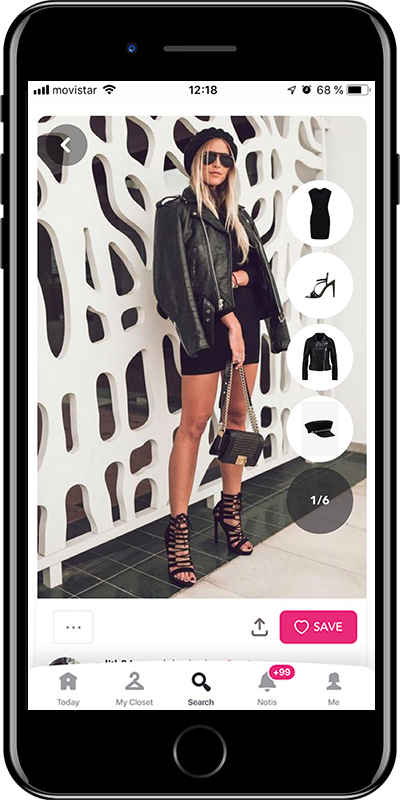 A total black chic outfit by Chicisimo outfit planner app