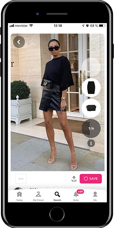 A total black outfit by Chicisimo outfit planner app