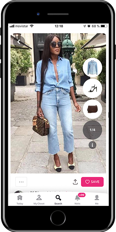 Girl wearing a denim shirt from Chicisimo fashion planner app