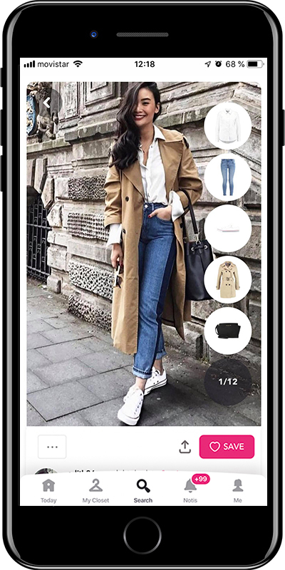 Girl wearing a basic trench with sneakers by Chicisimo fashion planner app