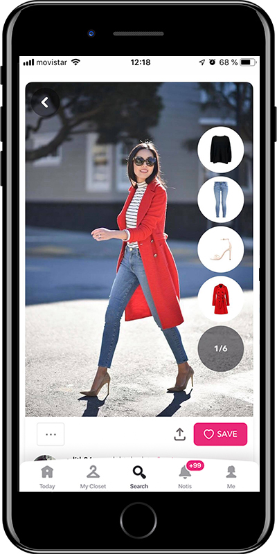 Girl wearing a red coat by Chicisimo outfit planner app