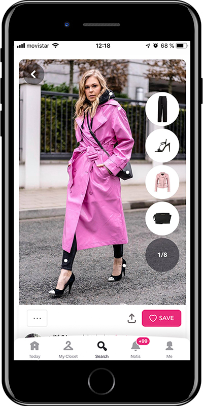 Girl wearing a pink trench in winter by Chicisimo fashion planner app