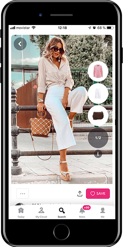Girl wearing  white pants outfit by Chicisimo planner app