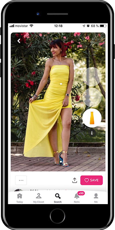 Girl wearing a yellow tube dress by Chicisimo fashion app