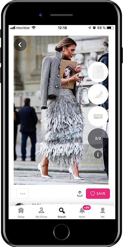 Girl in an elegant feather skirt by Chicisimo fashion planner app