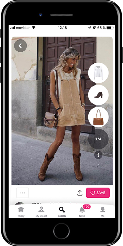 A beige overall outfit with Chicisimo fashion planner app