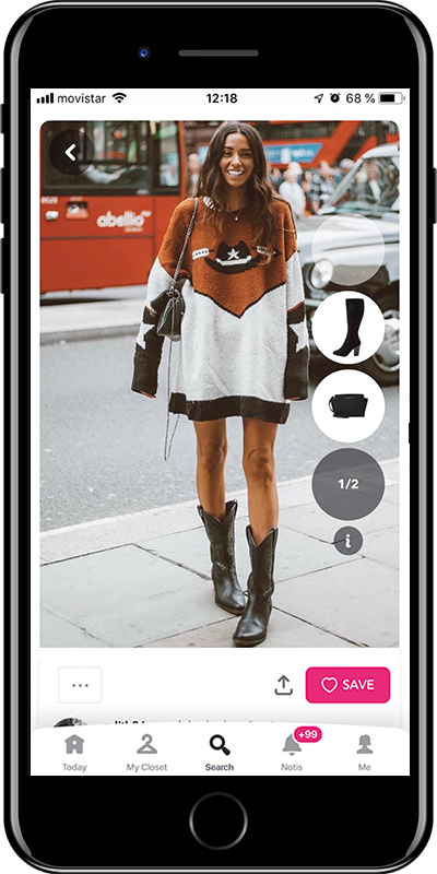 Wear your cowboy boots with a sweater dress with this outfit by Chicisimo fashion planner app