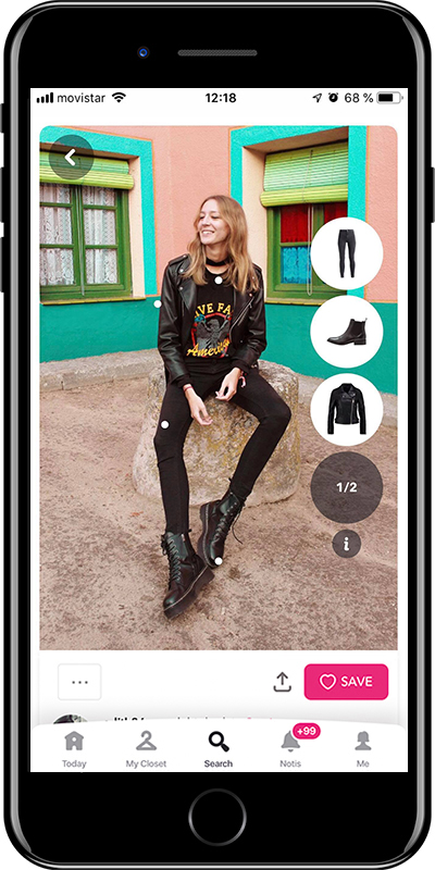 All black outfit with Chicisimo outfit planner app