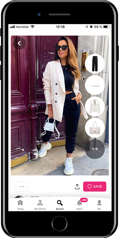 Chic outfit with blazer and sneakers by Chicisimo fashion planner app