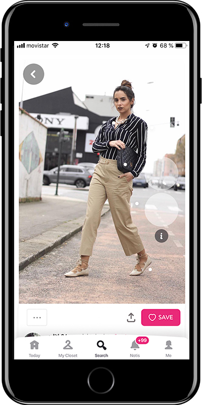 A basic outfit with striped shirt by Chicisimo fashion planner app