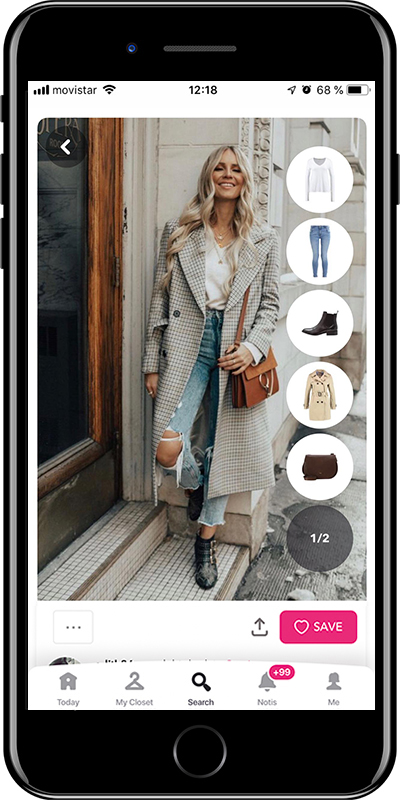 A winter outfit with long coat and ripped jeans by Chicisimo outfit planner app